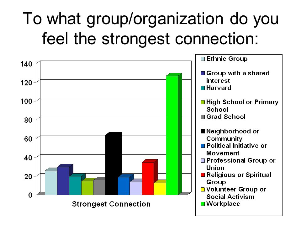 To what group/organization do you feel the strongest connection: