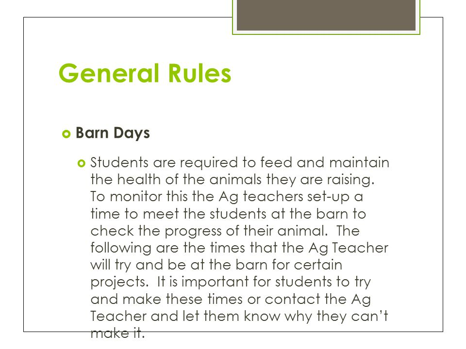 General Rules  Barn Days  Students are required to feed and maintain the health of the animals they are raising.