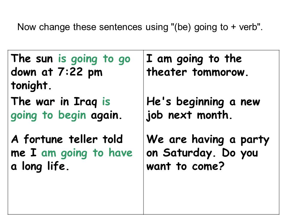 Now change these sentences using (be) going to + verb .