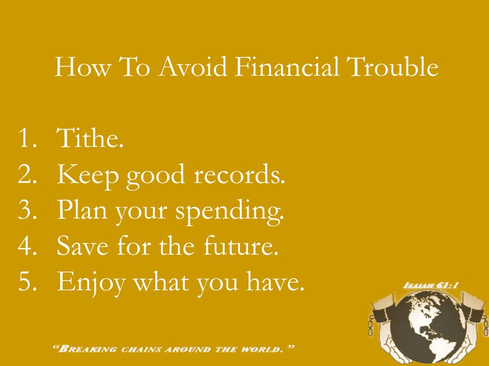 Warning Signs Of Financial Trouble 1. Living on credit instead of paying cash.