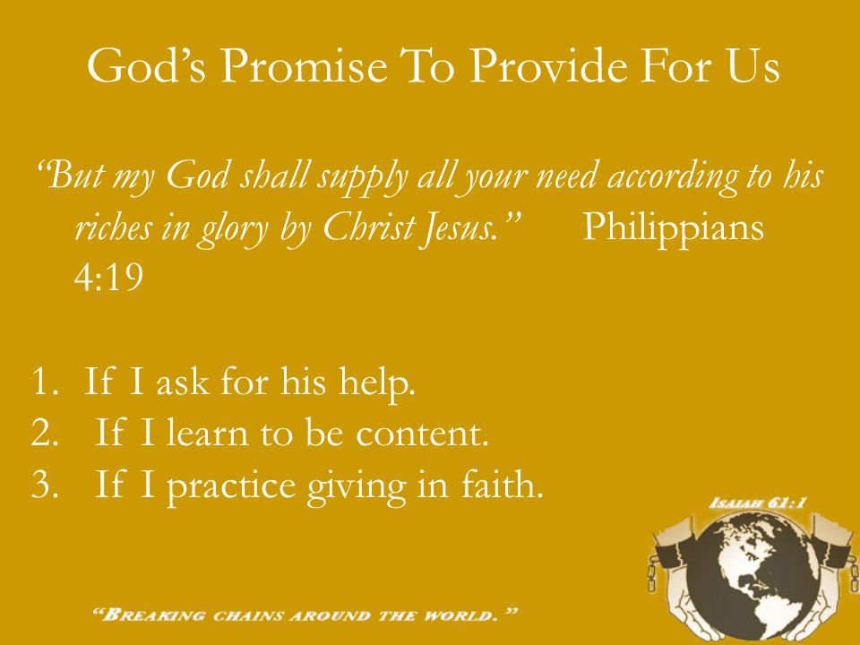 Tonight: God's promise to provide for us. How to avoid financial trouble. How to get financially healthy.