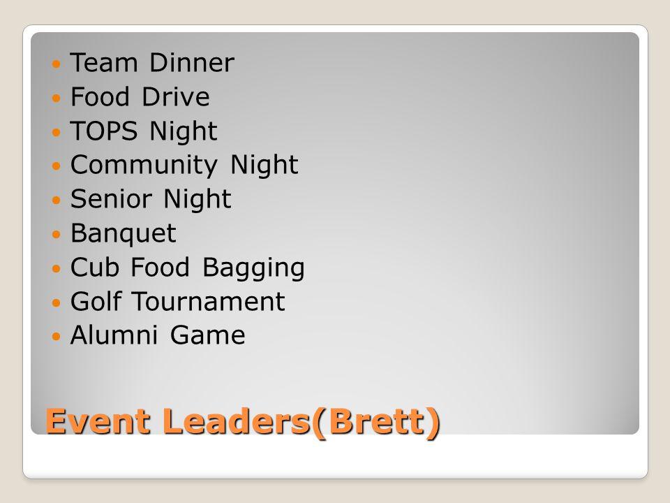 Event Leaders(Brett) Team Dinner Food Drive TOPS Night Community Night Senior Night Banquet Cub Food Bagging Golf Tournament Alumni Game
