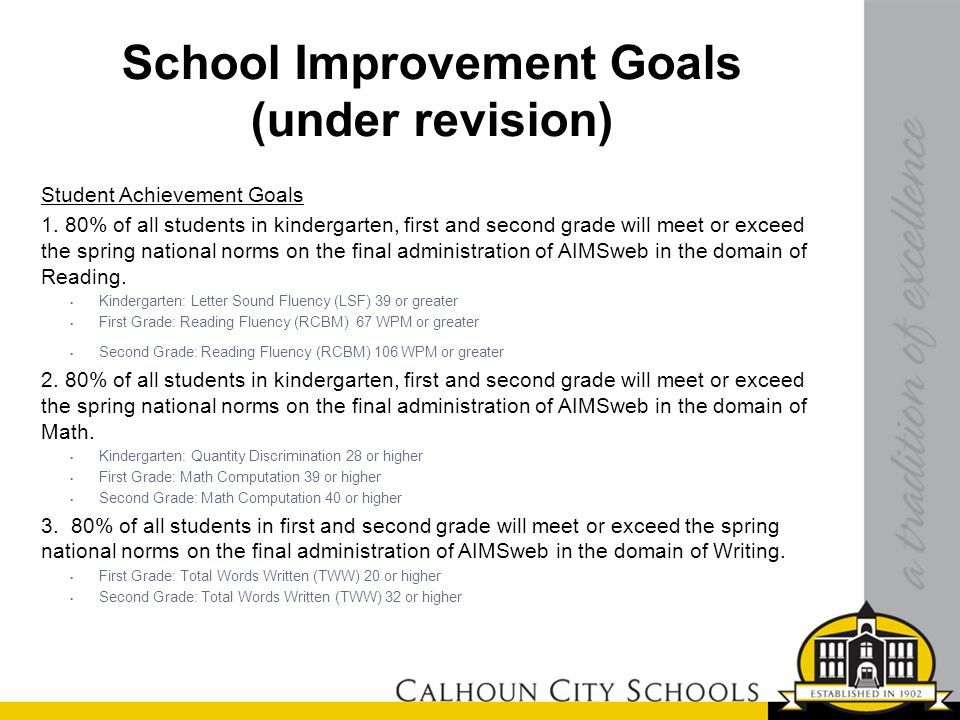 School Improvement Goals (under revision) Student Achievement Goals 1. 80% of all students in kindergarten, first and second grade will meet or exceed