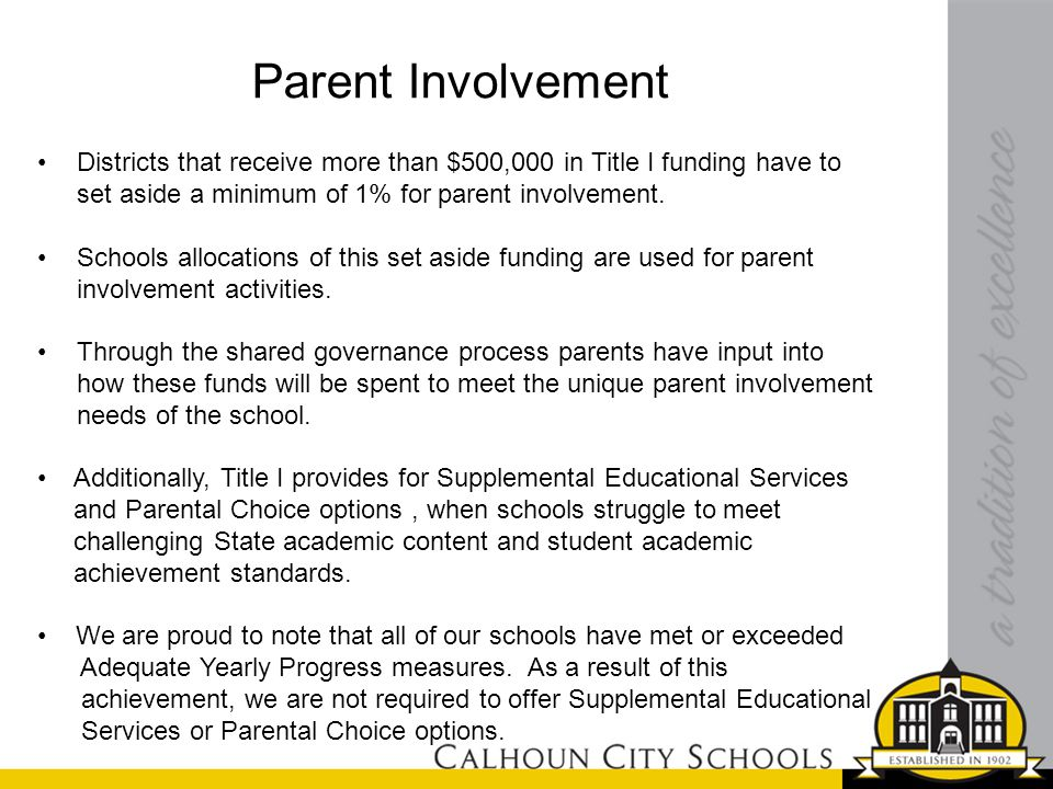 Parent Involvement Districts that receive more than $500,000 in Title I funding have to set aside a minimum of 1% for parent involvement. Schools allo