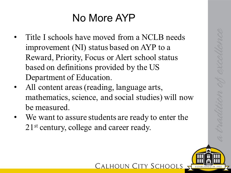 No More AYP Title I schools have moved from a NCLB needs improvement (NI) status based on AYP to a Reward, Priority, Focus or Alert school status based on definitions provided by the US Department of Education.