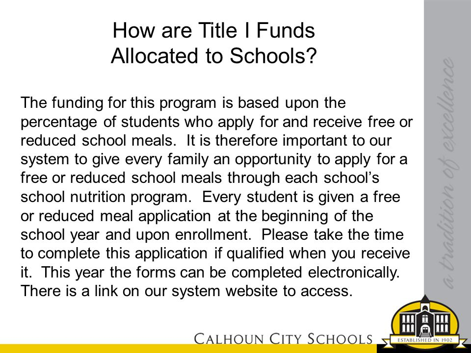 How are Title I Funds Allocated to Schools.