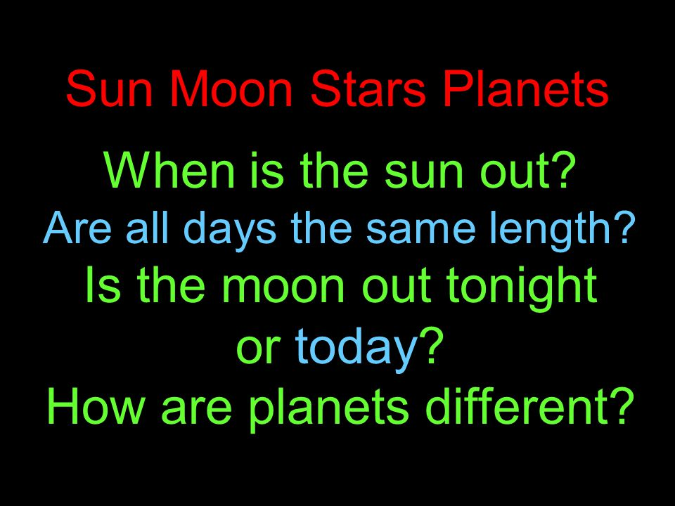 Sun Moon Stars Planets When is the sun out. Are all days the same length.