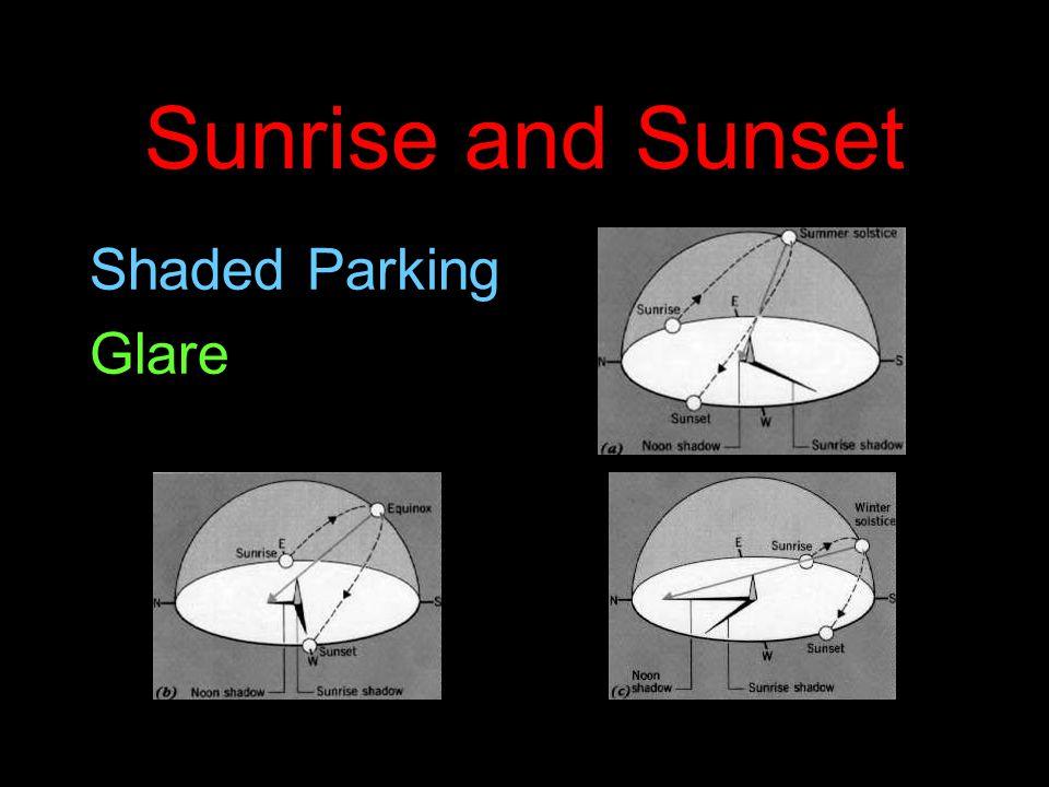 Sunrise and Sunset Shaded Parking Glare