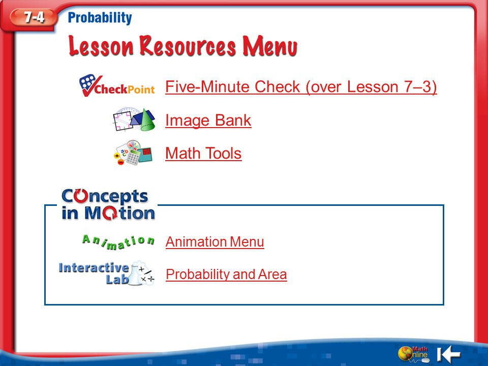 Resources Five-Minute Check (over Lesson 7–3) Image Bank Math Tools Animation Menu Probability and Area