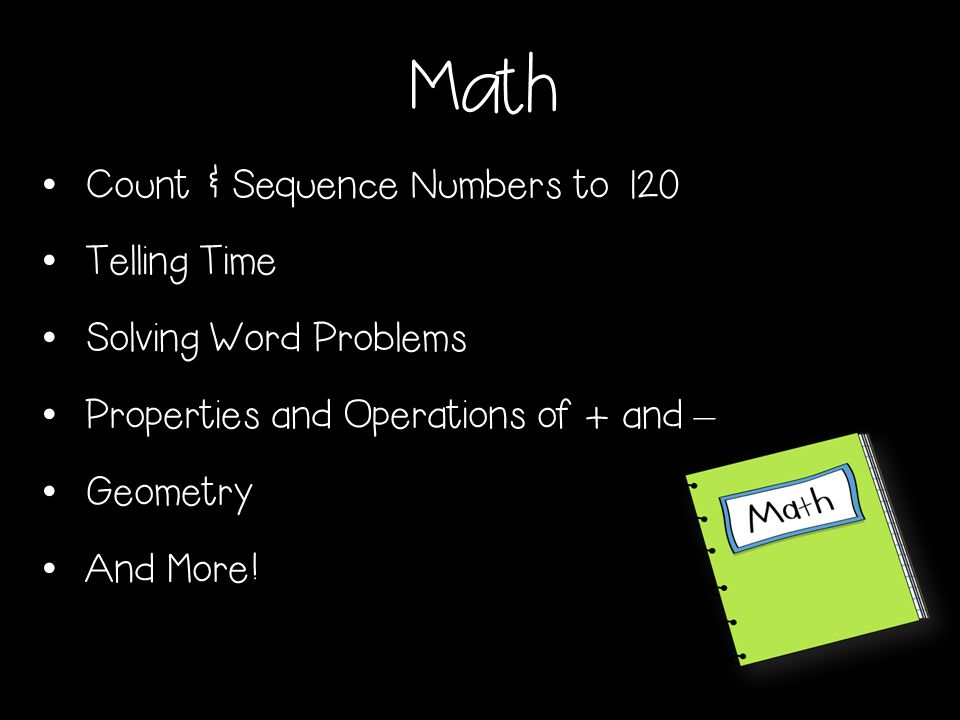 Math Count & Sequence Numbers to 120 Telling Time Solving Word Problems Properties and Operations of + and – Geometry And More!