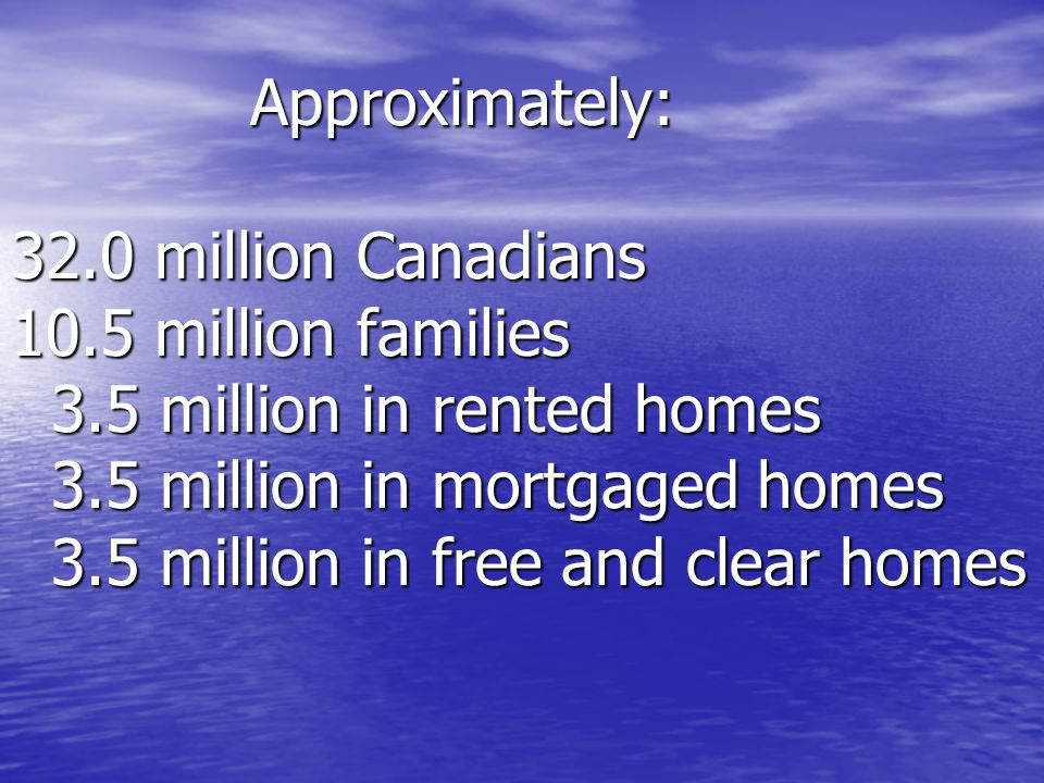 Approximately: 32.0 million Canadians 10.5 million families 3.5 million in rented homes 3.5 million in mortgaged homes 3.5 million in free and clear homes Approximately: 32.0 million Canadians 10.5 million families 3.5 million in rented homes 3.5 million in mortgaged homes 3.5 million in free and clear homes