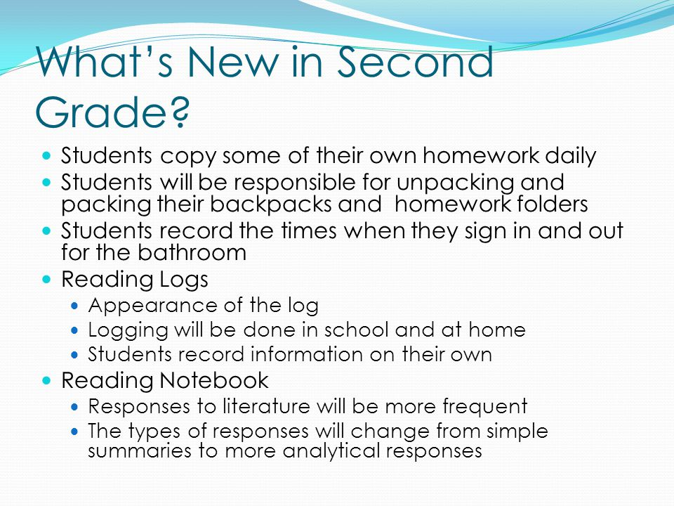 What's New in Second Grade.