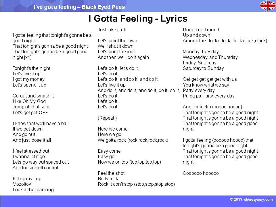 I've got a feeling – Black Eyed Peas © 2011 wheresjenny.com