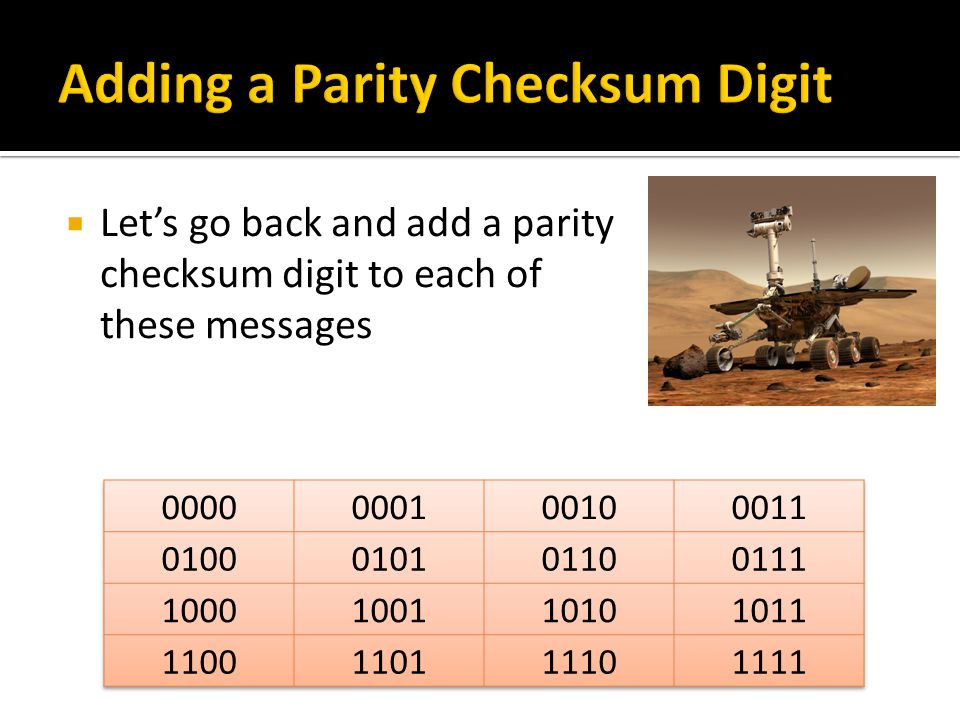 Let's go back and add a parity checksum digit to each of these messages