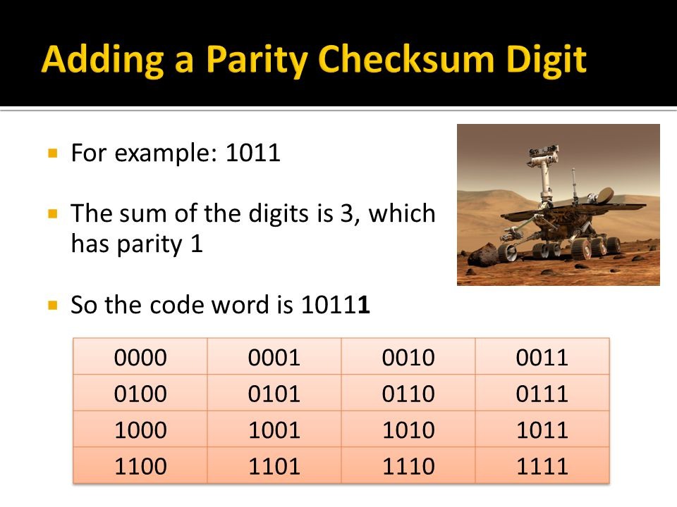  For example: 1011  The sum of the digits is 3, which has parity 1  So the code word is 10111