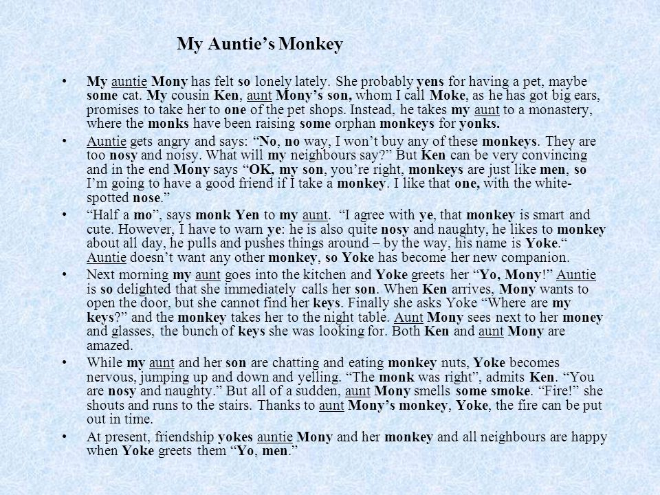 My Auntie's Monkey My auntie Mony has felt so lonely lately.