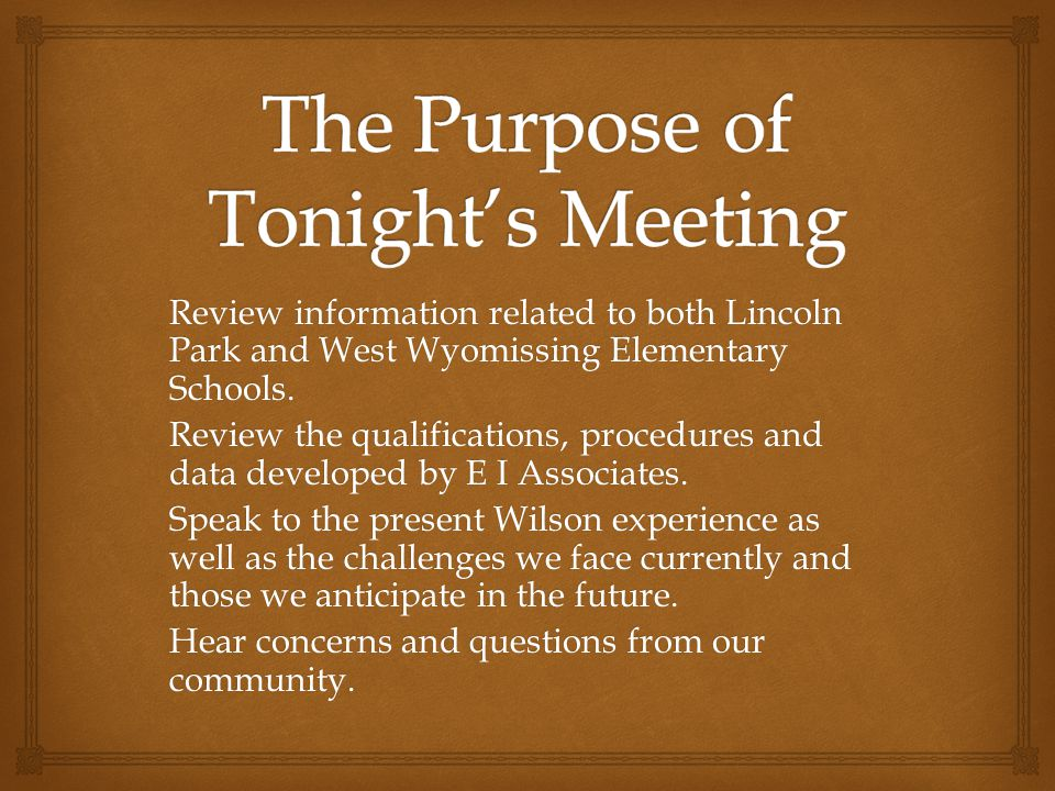 Review information related to both Lincoln Park and West Wyomissing Elementary Schools.