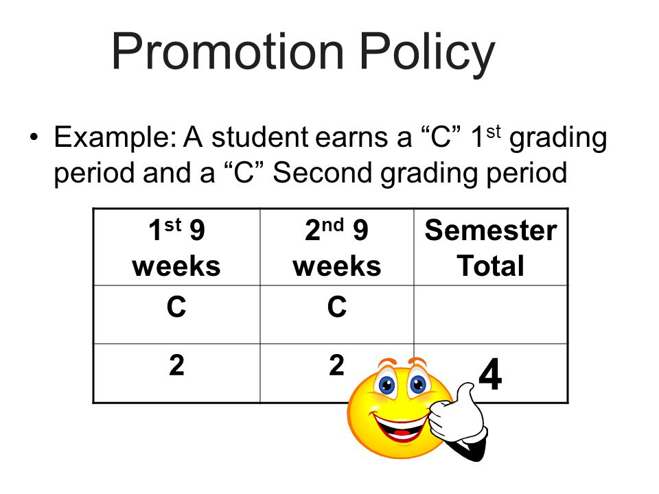 "Promotion Policy Example: A student earns a ""C"" 1 st grading period and a ""C"" Second grading period 1 st 9 weeks 2 nd 9 weeks Semester Total CC 22 4"