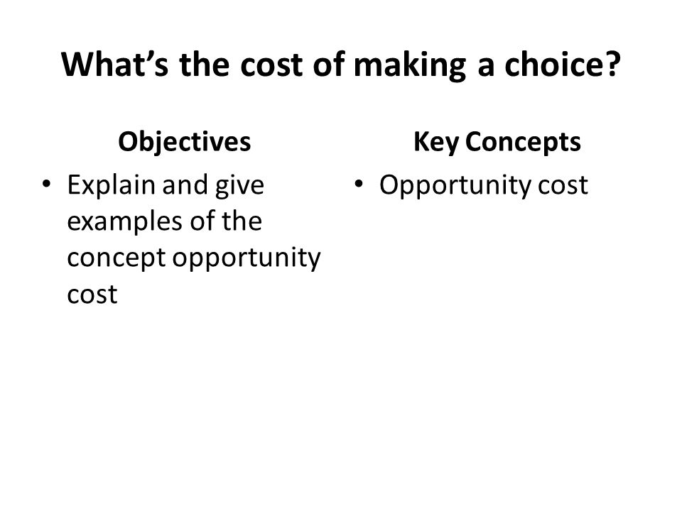 What's the cost of making a choice.