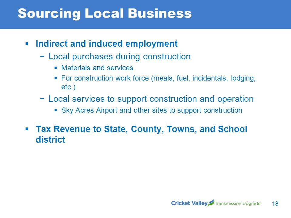 Sourcing Local Business 18  Indirect and induced employment −Local purchases during construction  Materials and services  For construction work force (meals, fuel, incidentals, lodging, etc.) −Local services to support construction and operation  Sky Acres Airport and other sites to support construction  Tax Revenue to State, County, Towns, and School district