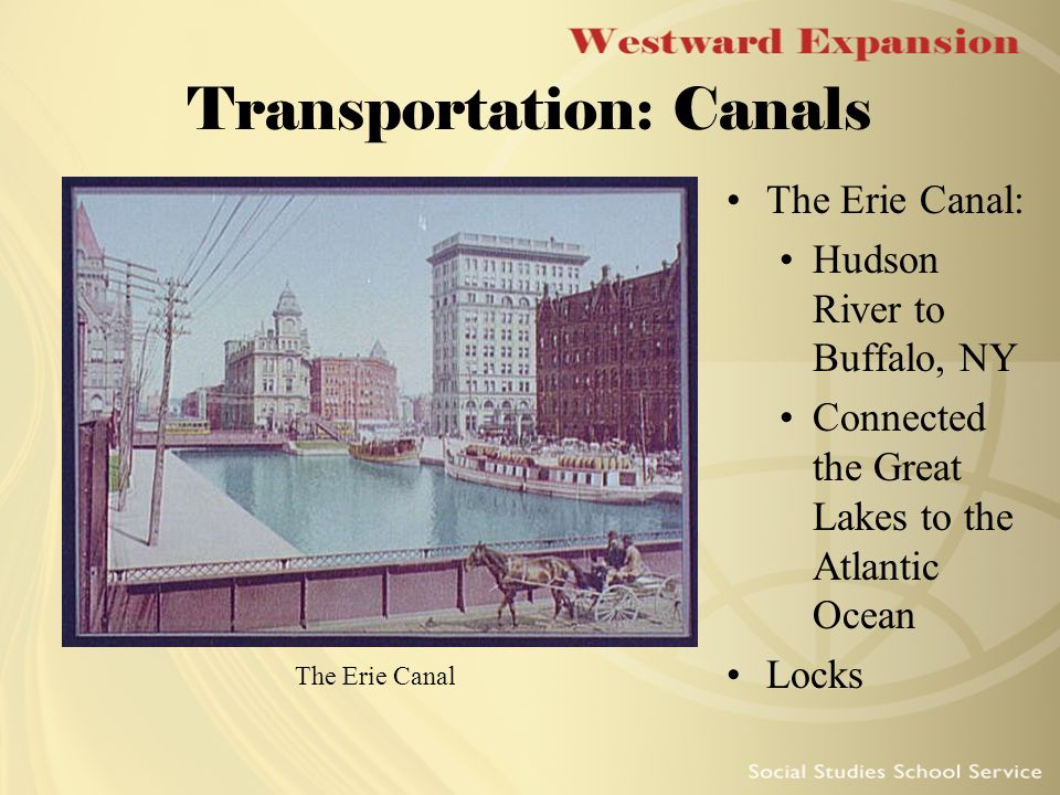 Transportation: Canals The Erie Canal: Hudson River to Buffalo, NY Connected the Great Lakes to the Atlantic Ocean Locks The Erie Canal