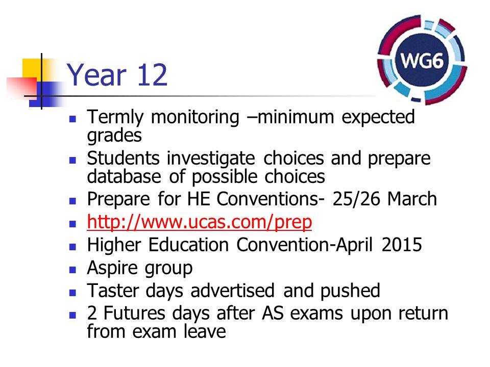 Year 12 Termly monitoring –minimum expected grades Students investigate choices and prepare database of possible choices Prepare for HE Conventions- 25/26 March http://www.ucas.com/prep Higher Education Convention-April 2015 Aspire group Taster days advertised and pushed 2 Futures days after AS exams upon return from exam leave