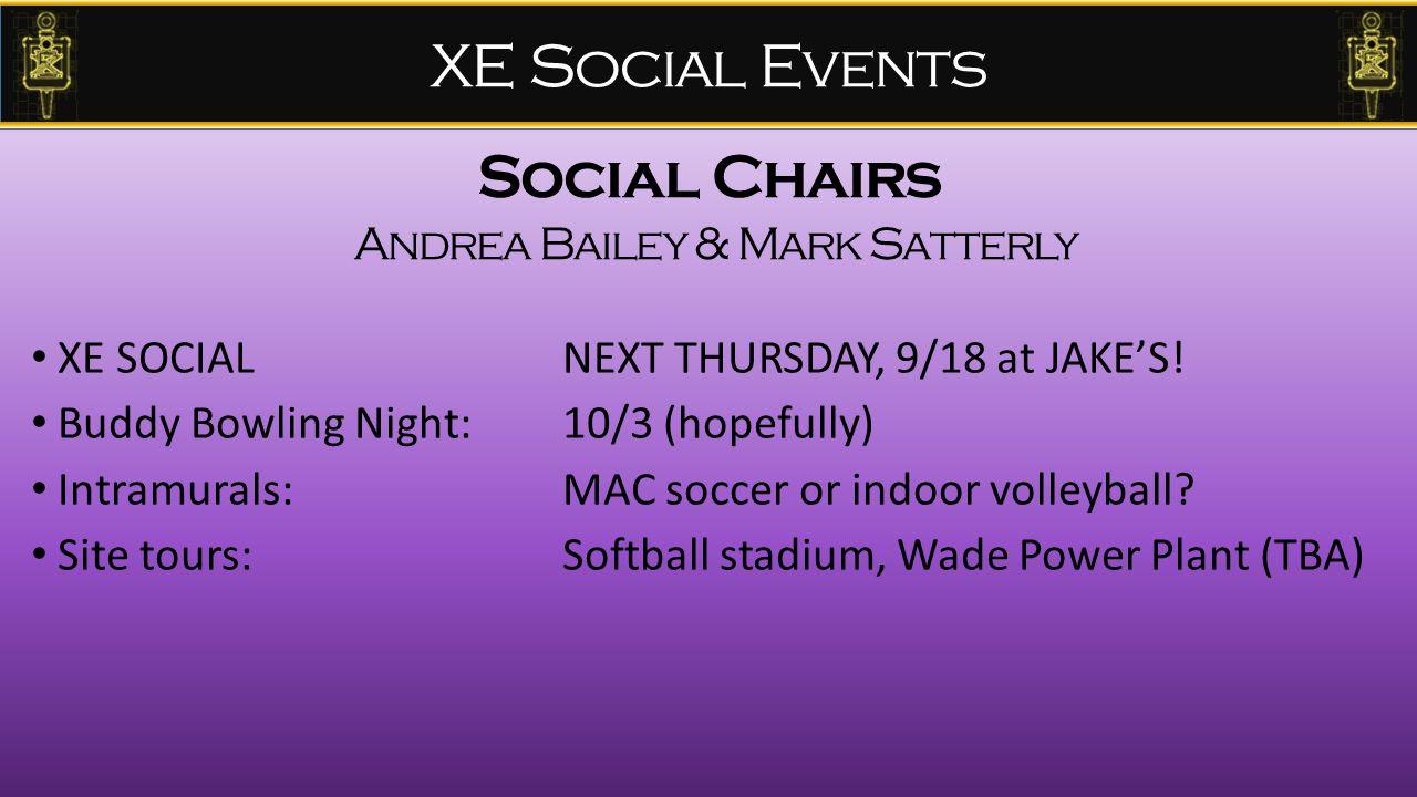 XE Social Events XE SOCIAL NEXT THURSDAY, 9/18 at JAKE'S.