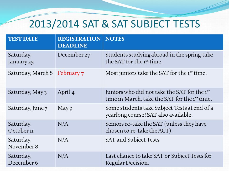 2013/2014 SAT & SAT SUBJECT TESTS TEST DATEREGISTRATION DEADLINE NOTES Saturday, January 25 December 27Students studying abroad in the spring take the SAT for the 1 st time.