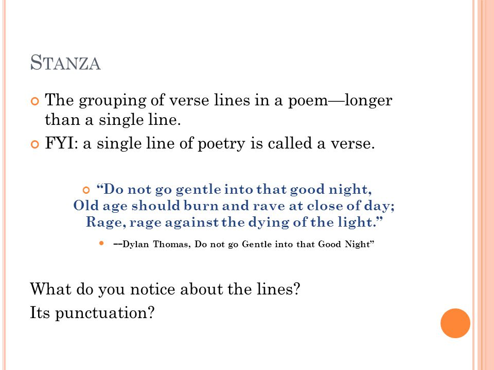 I NTERNAL R HYME The repetition of sounds in two or more words or phrases that appear in the same line of a poem.
