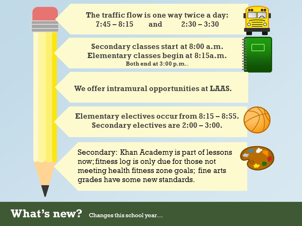 What's new? Changes this school year… The traffic flow is one way twice a day: 7:45 – 8:15 and 2:30 – 3:30 Secondary classes start at 8:00 a.m. Elemen