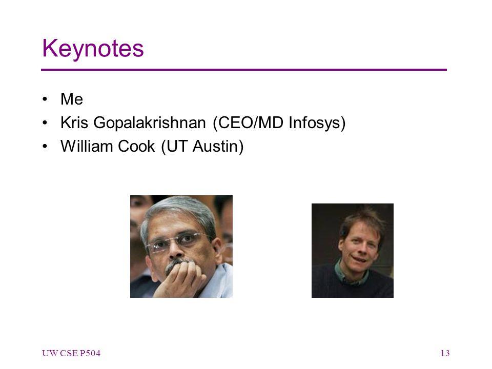 Keynotes Me Kris Gopalakrishnan (CEO/MD Infosys) William Cook (UT Austin) UW CSE P50413