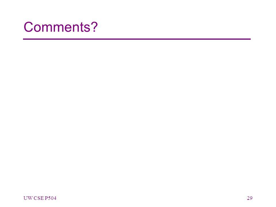 Comments UW CSE P50429