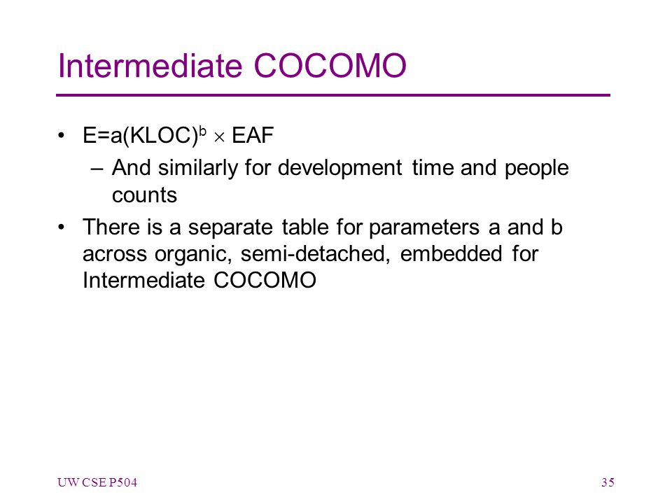 Intermediate COCOMO E=a(KLOC) b  EAF –And similarly for development time and people counts There is a separate table for parameters a and b across organic, semi-detached, embedded for Intermediate COCOMO UW CSE P50435