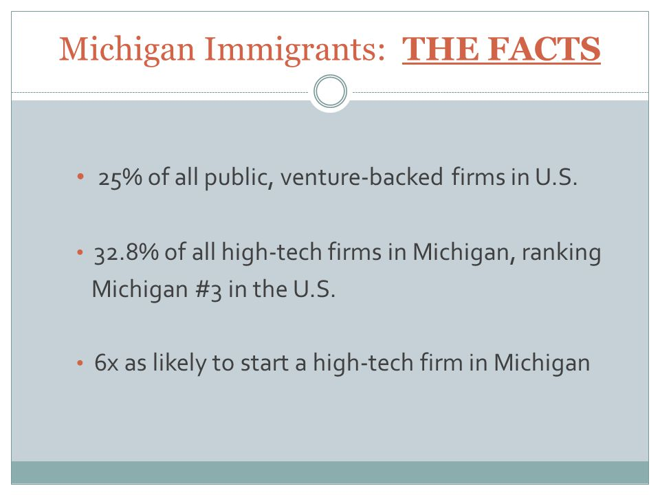 Michigan Immigrants: THE FACTS 25% of all public, venture-backed firms in U.S.