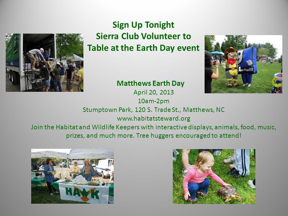 Matthews Earth Day April 20, 2013 10am-2pm Stumptown Park, 120 S.