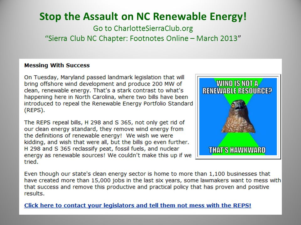 Stop the Assault on NC Renewable Energy.