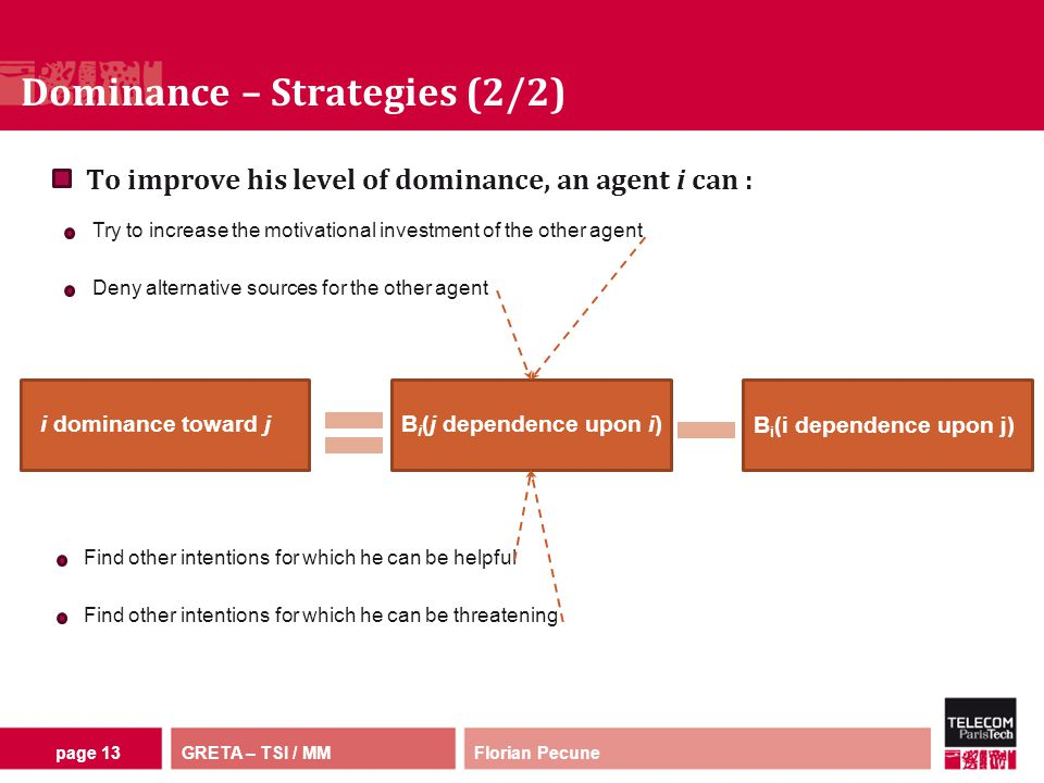 GRETA – TSI / MM Dominance – Strategies (2/2) Florian Pecunepage 13 To improve his level of dominance, an agent i can : Try to increase the motivational investment of the other agent Deny alternative sources for the other agent i dominance toward jB i (j dependence upon i) B i (i dependence upon j) Find other intentions for which he can be helpful Find other intentions for which he can be threatening