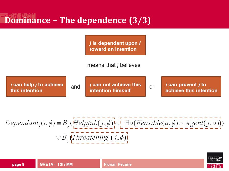 GRETA – TSI / MM Dominance – The dependence (3/3) Florian Pecunepage 8 j is dependant upon i toward an intention i can help j to achieve this intention j can not achieve this intention himself i can prevent j to achieve this intention andor means that j believes