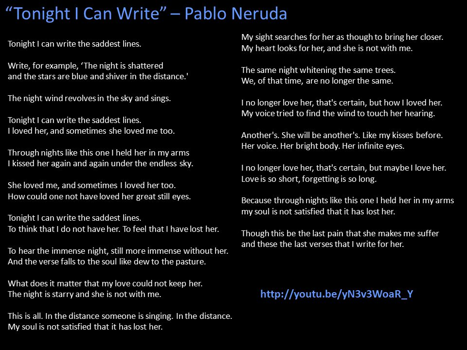 Tonight I Can Write – Pablo Neruda Tonight I can write the saddest lines.