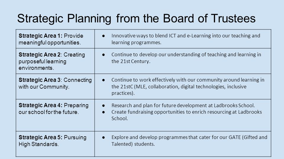 Strategic Planning from the Board of Trustees Strategic Area 1: Provide meaningful opportunities.