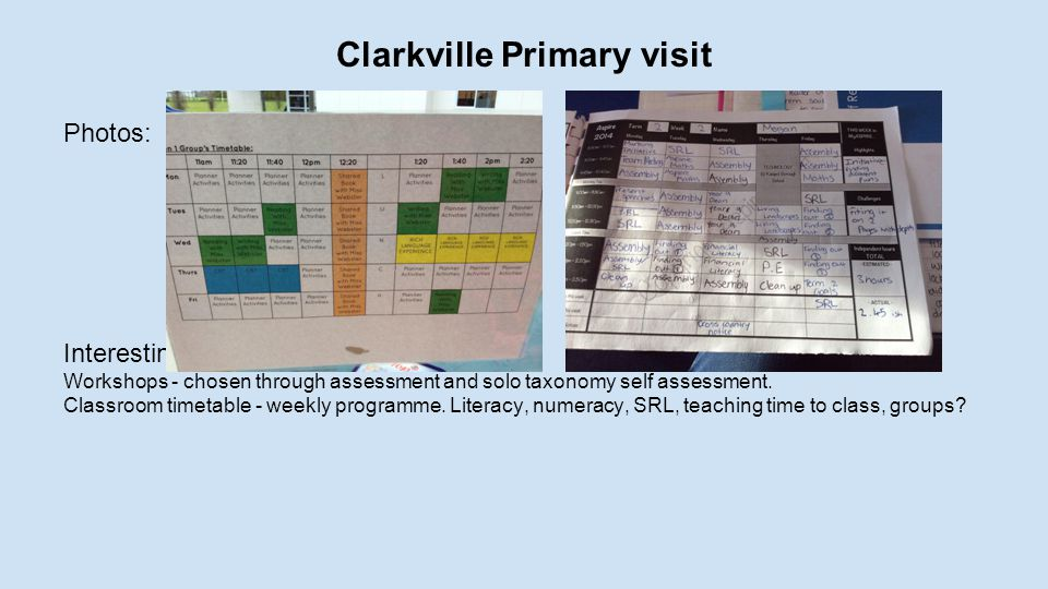 Clarkville Primary visit Photos: Interesting observations: Workshops - chosen through assessment and solo taxonomy self assessment.