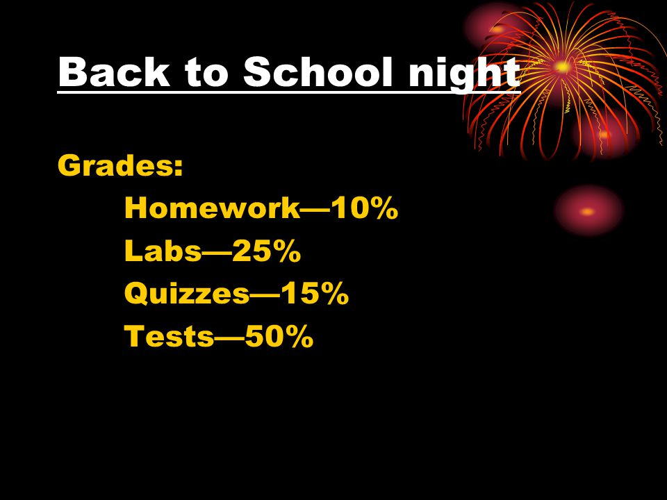Back to School night Grades: Homework—10% Labs—25% Quizzes—15% Tests—50%