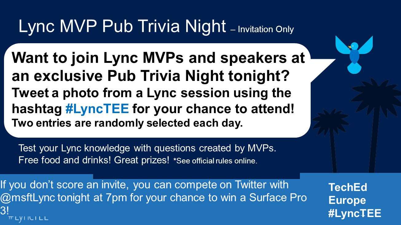 Want to join Lync MVPs and speakers at an exclusive Pub Trivia Night tonight.