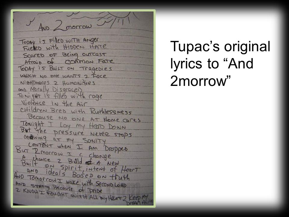 """Tupac's original lyrics to """"And 2morrow"""""""
