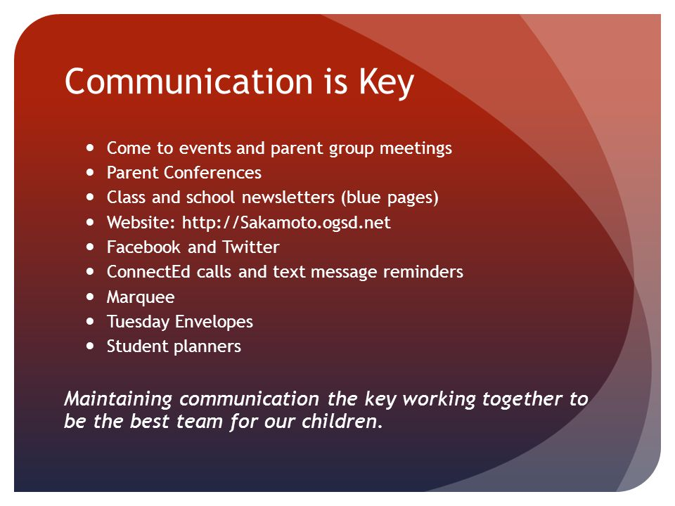 Communication is Key Come to events and parent group meetings Parent Conferences Class and school newsletters (blue pages) Website: http://Sakamoto.og