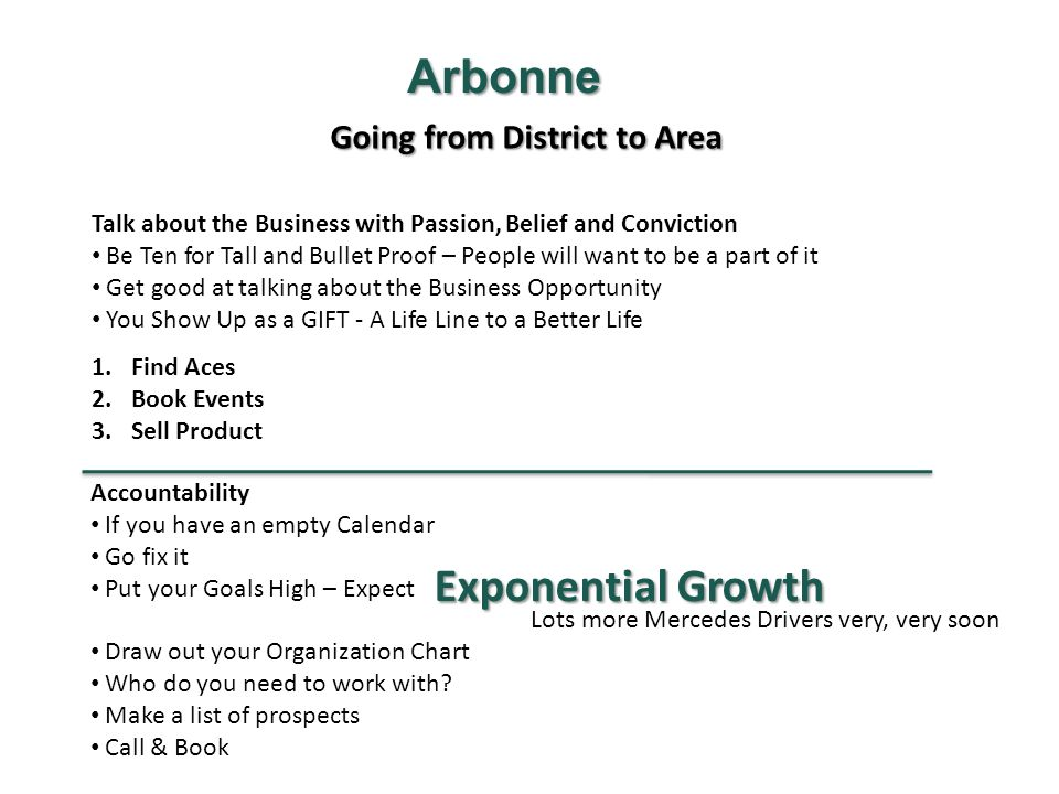 Going from District to Area Arbonne Talk about the Business with Passion, Belief and Conviction Be Ten for Tall and Bullet Proof – People will want to be a part of it Get good at talking about the Business Opportunity You Show Up as a GIFT - A Life Line to a Better Life 1.Find Aces 2.Book Events 3.Sell Product Accountability If you have an empty Calendar Go fix it Put your Goals High – Expect Draw out your Organization Chart Who do you need to work with.