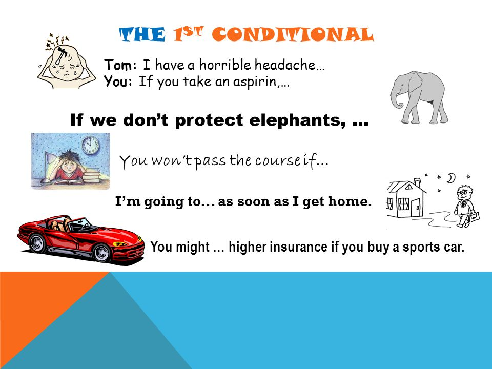 THE 1 ST CONDITIONAL Tom: I have a horrible headache… You: If you take an aspirin,… If we don't protect elephants,...
