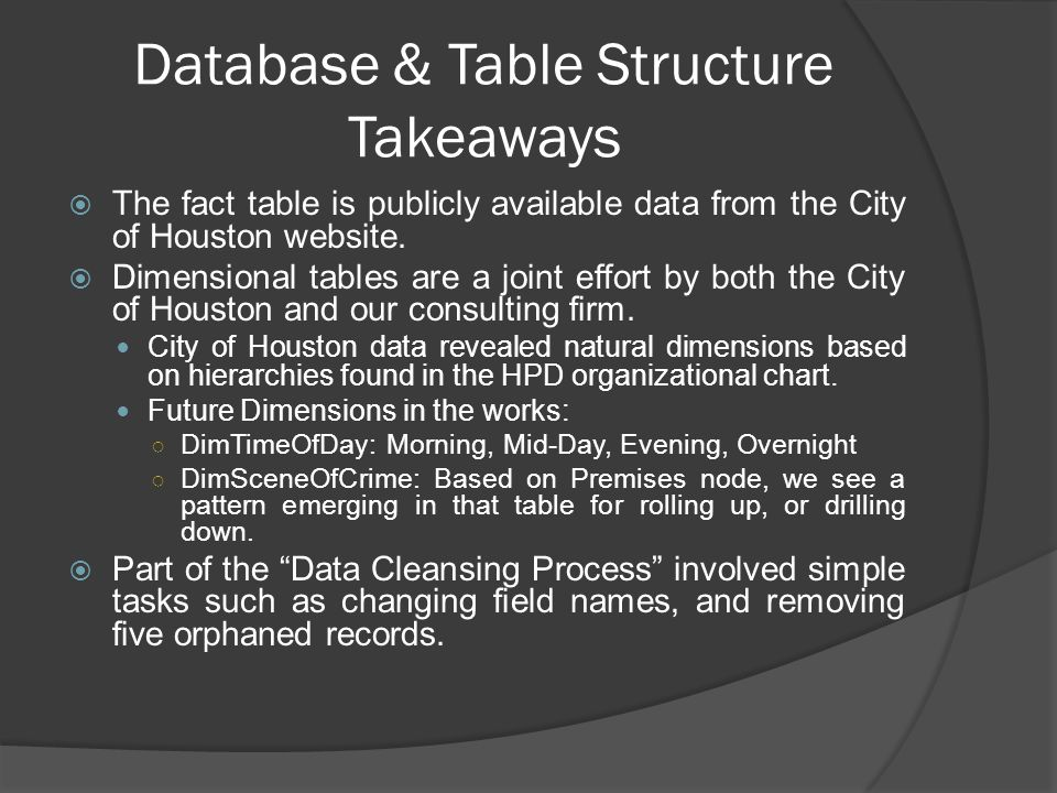 Database & Table Structure Takeaways  The fact table is publicly available data from the City of Houston website.