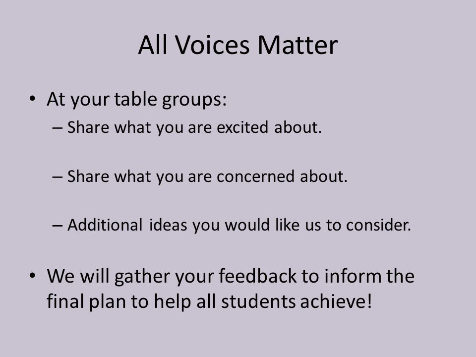 All Voices Matter At your table groups: – Share what you are excited about.