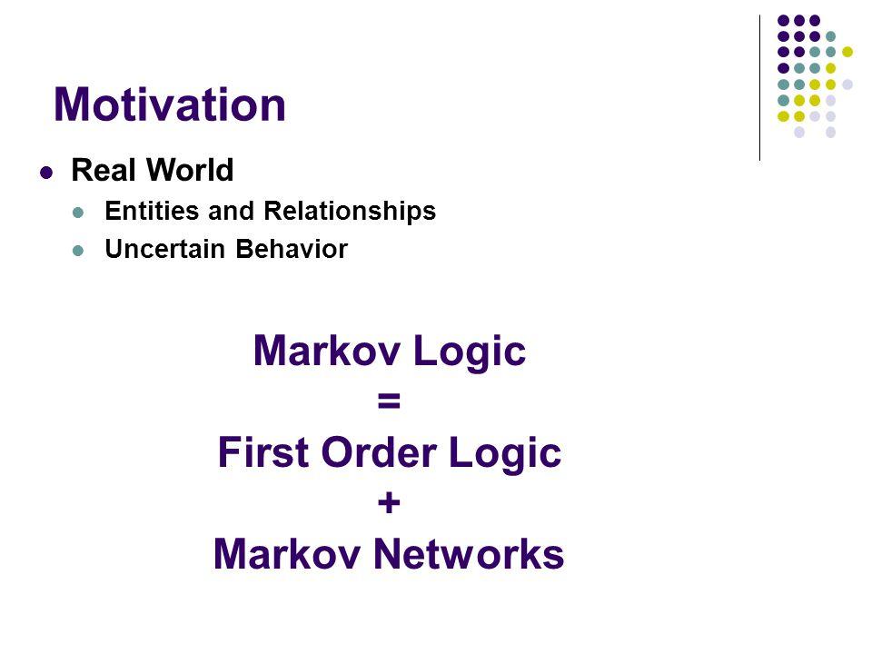 Motivation Markov Logic = First Order Logic + Markov Networks Real World Entities and Relationships Uncertain Behavior